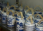 Porcelain tea pots in shop in Xitang ancient water town