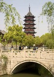 Suzhou's Pan Men Park with pagoda and Spring Water stone bridge