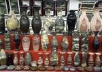 Dali marble vases in shop in Dali, Yunnan