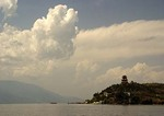 Clouds over Buddhist Temple on island in Lake Erhai near Dali