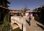 Lijiang Old Town stone bridge over canal