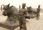 Unearthed Iron Ox group in the Pujin Ferry near the Yellow River, from Tang dynasty, in southern Shanxi province