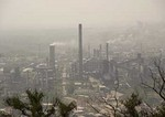 Industrial smokestacks polluting air in central Shanxi province