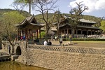 Jin Ci (Jin Temple) park garden and lake in spring, with Hall of the Holy Mother at right