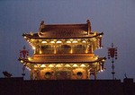 Pingyao watchtower at night on ancient rammed-earth wall of 2,700-year old city