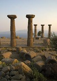 Ruins of the Greek Temple of Athena at Assos overlooking Aegean Sea and Greek Island of Lesvos
