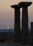 Ruins of the Greek Temple of Athena at Assos at sunset