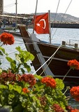Fishing boat with Turkish flag in Assos harbor