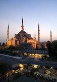 Arasta Bazaar below the Blue Mosque (Sultan Ahmet Cami) at dusk