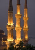 Minarets of Blue Mosque (Sultan Ahmet Cami) at night