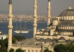 Tall ship passing Blue Mosque on Bosphorus