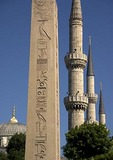 Egyptian Obelisk in Hippodrome contrasts with minarets of the Blue Mosque (Sultan Ahmet Cami)