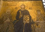 Aya Sofya (Hagia Sophia, Church of the Holy Wisdom), Byzantine mosaic of Jesus Christ with Emperor Contantine and Empress Zoe
