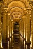 Basilica Cistern (Yerebatan Sarnici) or Sunken Cistern underground waterway of marble columns and Byzantine arches and domes