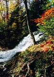 Carp River Falls in autumn color, near Marquette, Michigan, in Upper Peninsula