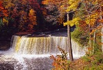 Upper water falls in autumn in Tahquamenon Falls State Park in Upper Peninsula of Michigan