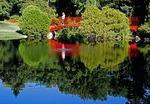 Dow Gardens, red bridge to the color garden