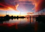 Port Austin Marina at dusk on Saginaw Bay of Lake Huron