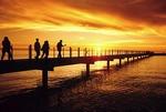 Port Austin Pier on Saginaw Bay of Lake Huron at sunset