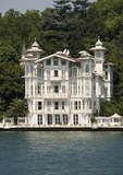 Ornate wooden Istanbul house along European side of Bosphorus