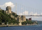 Istanbul's Rumeli Hisari (Thracian Castle) and Fatih Sultan Mehmet Bridge over Bosphorus