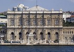 Facade of Istanbul's Dolmabahce Palace facing the Bosphorus