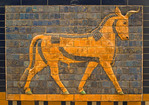 Istanbul Archaeology Museum, glazed brick relief of bull, sacred animal of the god Adad, from monumental Ishtar Gate of Babylon