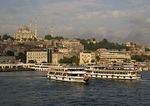 Ferries on Istanbul's Golden Horn below Mosque of Suleyman (Suleymaniye Cami)