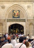 Istanbul's Grand Bazaar entrance with crowd of tourists