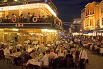 Istanbul's Kumkapi district restaurants with dinner time crowd