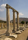 Ionic columns in ruins of Roman healing center of Asclepion at ancient Pergamum (Pergamon)