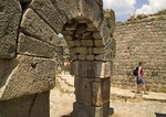 Arched entrance in ruins of dormitories of Roman healing center of Asclepion at ancient Pergamum