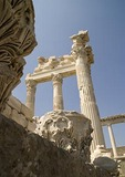 Corinthian columns of Temple of Trajan Greek ruins on the acropolis of Pergamum