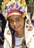 Turkish girl dancer in ethnic clothing at festival