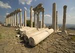 Trajan Temple, Corinthian columns of Greek ruins on the acropolis of Pergamum
