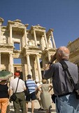 Tourists at Library of Celsus in Ephesus, Turkey