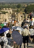 Tourists at Ephesus on crowded Street of Kuretes leading to Library of Celsus