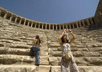 Tourists in Theater of Aspendos