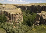 Ihlara Valley rift carved by Melendiz River in tufa cliffs of Cappadocia