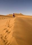 Hiker on Sossusvlei sand dune, Naukluft Park, Namibia