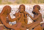 Himba teenage girls, Kaokaland, near Opowu, Namibia