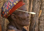 Himba tribal chief in Kaokaland, near Opowu, Namibia