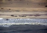Skeleton Coast shipwreck on beach, Namibia