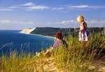 Children on Empire Bluff overlooking Lake Michigan at Sleeping Bear Dunes National Lakeshore