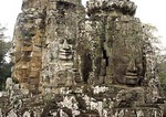 Six stone faces of Boddhisattva on Bayon Temple