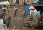 Mekong River Delta boat resident in Can Tho area of Vietnam