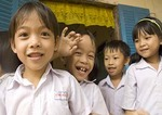 Elementary school children in the Mekong River Delta near Can Tho