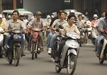 Downtown Saigon motor bike traffic