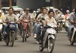 Downtown Saigon motor bike traffic