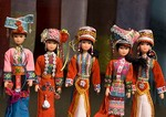 Flower Hmong dolls in market at Bac Ha in northern Vietnam